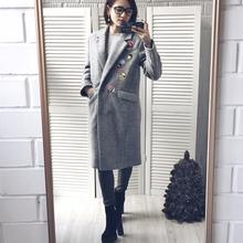 Winter coat women small cute embroidery long wool women coat jacket ladies coats jacket(China (Mainland))