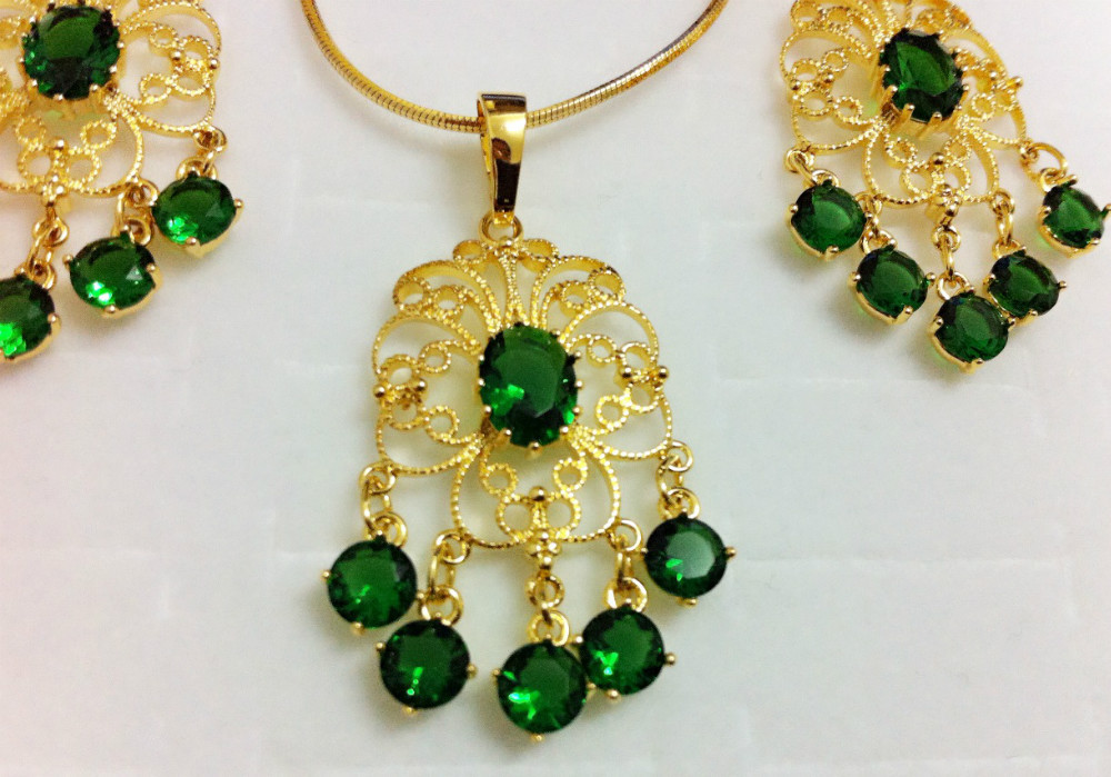1set 14K gold filled green cubic zirconia luxuriant royal woman necklace+pendant+earring Jewelry set Accessoies - ANN' Shop store