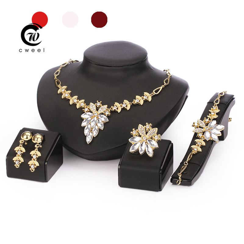 African Beads Jewelry Set 18k Gold Filled White Sapphire Clear Austrian Crystal Women Wedding Necklace Bracelet Earring Ring(China (Mainland))
