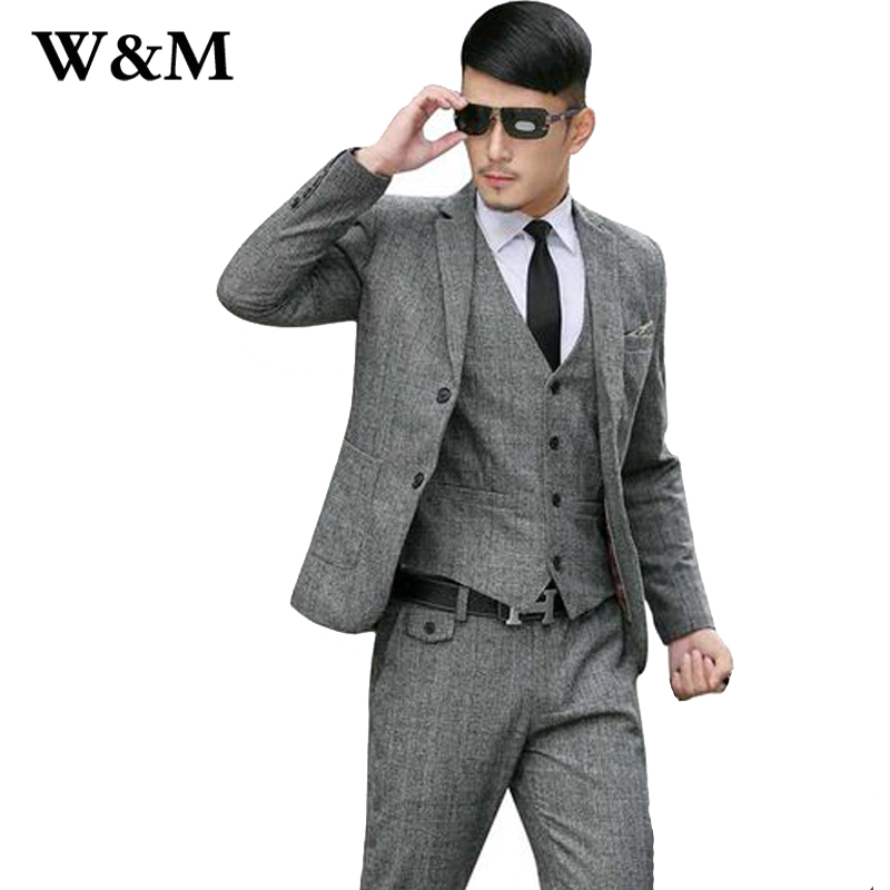 2015 New Arrival Mens Suits Wedding Groom Wool Tuxedos Suit Men Fashion Business Costume Homme