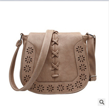 2016 New Arrive Autumn Girl's Cross-body bag Fashion Small Pu Leather Shoulder Bag Hollow out Knitting Fresh Style Sac A Main