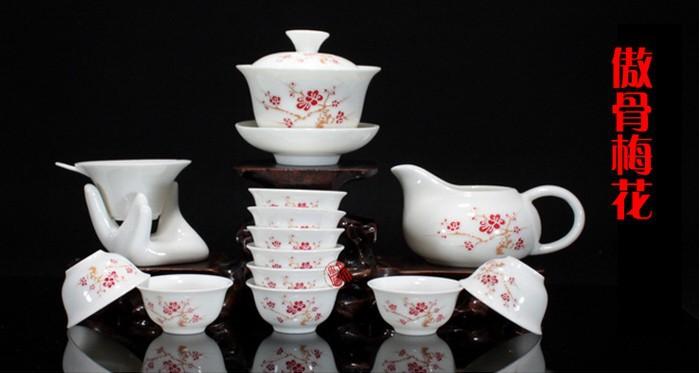 Special package of Jingdezhen Ceramic Tea Set Tea Set embossed dragon kung fu tea cup