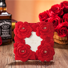 (50 pieces/lot)Chinese Wind Personalized Wedding Favor Invitations Luxurious 3D Red Flower Invitation Cards - iBox store
