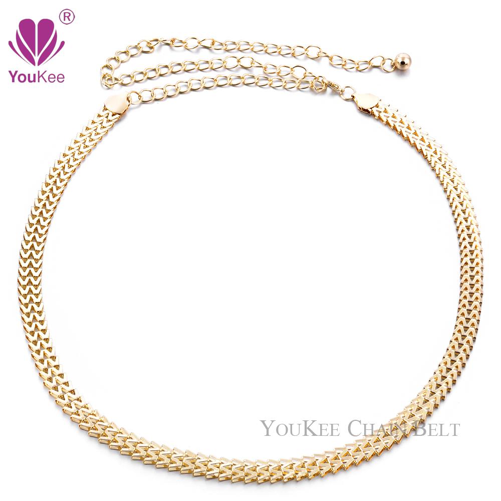 Sexy Chain Belt Women Gold Plated Thin Waistband Metallic Body Accessories Women's (BL-454) YouKee - Jewellery store