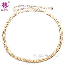 Sexy Chain Belt For Women Gold Plated Thin Waistband Metallic Gold Belt Body Chain Accessories Women's Belt (BL-454) YouKee Belt