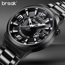 Buy BREAK Men Top Luxury Brand Stainless Steel Band Fashion Casual Analog Quartz Sports Wristwatches Calendar Dress Gift Watches for $19.83 in AliExpress store