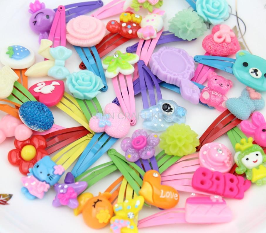 100pcs adorable handmade Sweet Kawaii resin Gift snap hair Clips Mixed pattern w/free gift box little hair clips kids hair bows(China (Mainland))