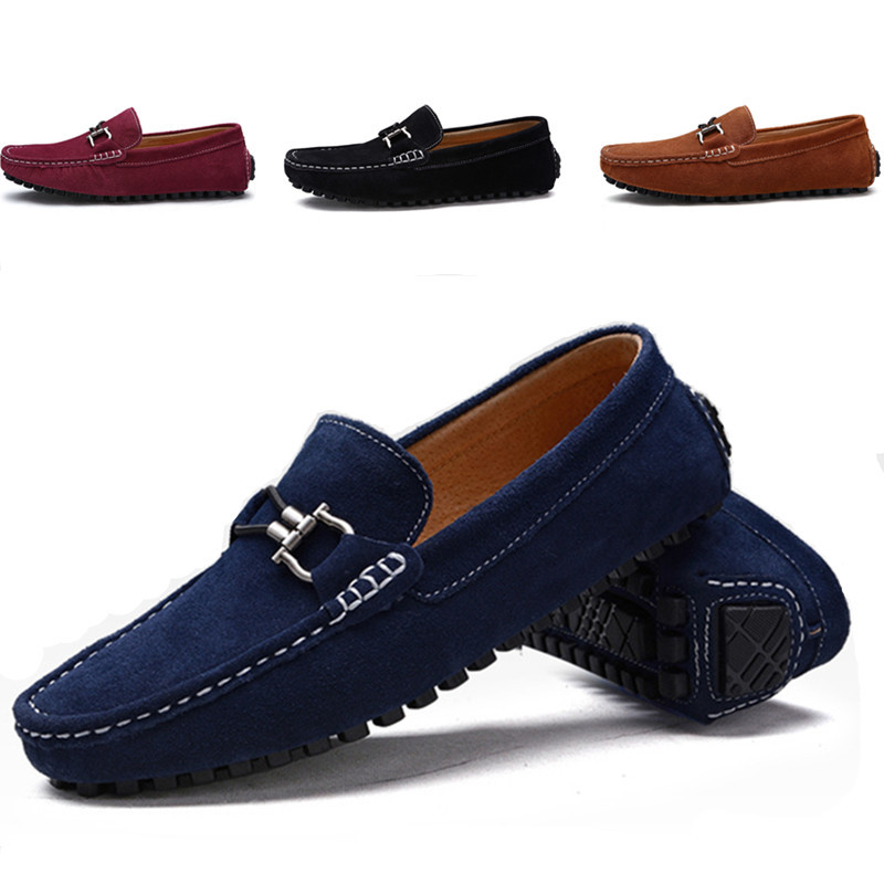 Buy 2016 New Genuine Leather Men Flat Shoes Brand Moccasins Men Loafers Peas