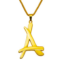 2015 newest superstar Alumni A letter pendants necklace 18K real gold plated thin chain men colgantes hip hop hombre N193(China (Mainland))