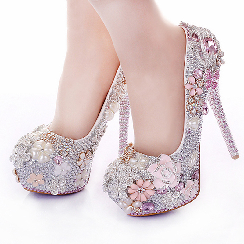 Rhinestone Flower Pink Wedding Shoes Stiletto Heel 14cm Crystal 2015 Bridal Prom Bridesmaid