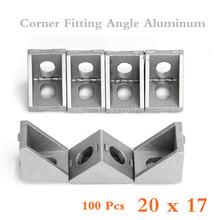 100pcs 20*17 corner fitting angle aluminum 20 x 20 x 17 L connector bracket fastener match use 2020 industrial aluminum profile(China (Mainland))