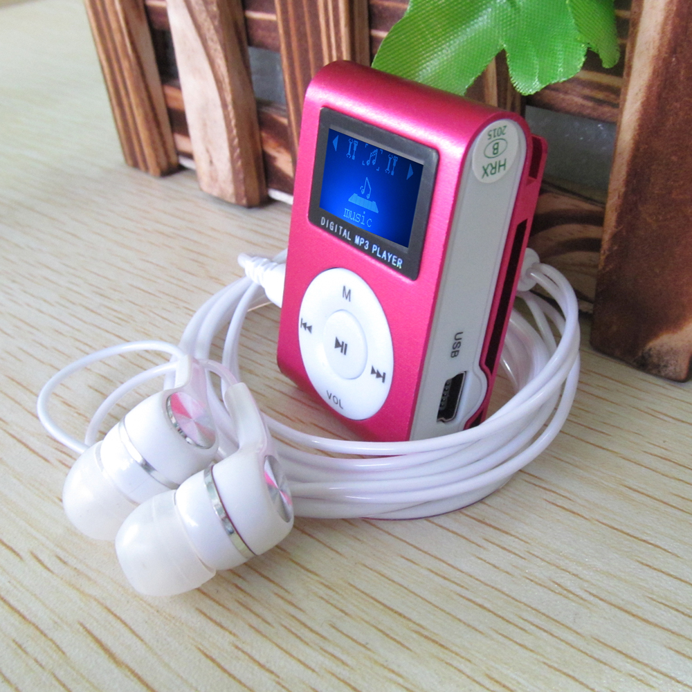 2015 New LCD Screen Metal Mini Clip MP3 Player with Micro TF/SD Slot with Earphone and USB Cable Portable MP3 Music Players(China (Mainland))