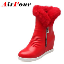 Airfour Mid-calf Boots Shoes Woman Winter High Heels Snow Boots White Shoes Large Size 34-43 Zippers Round Toe Platform Boots(China (Mainland))