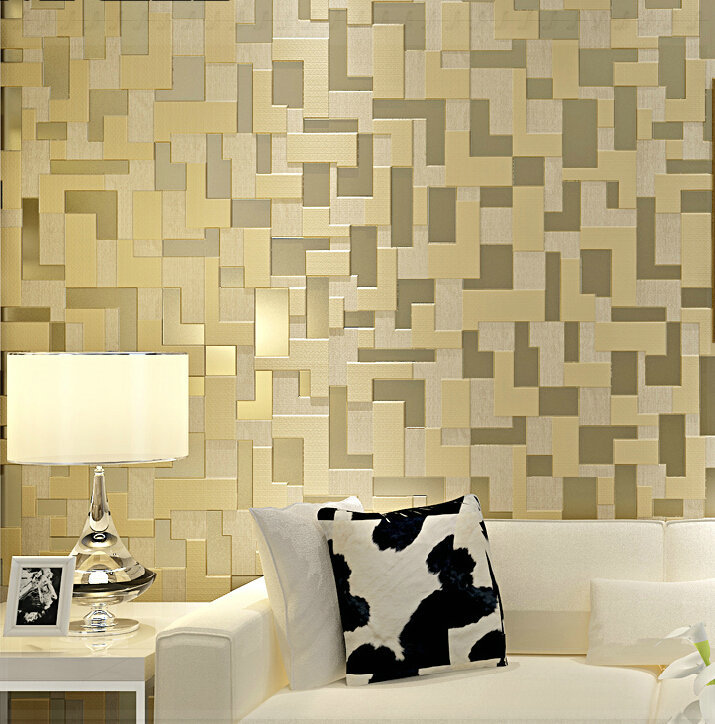 simple 3d stereo bedroom living room tv setting wall wallpaper woven