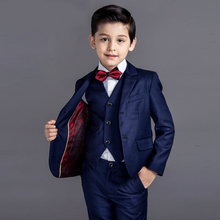 4pcs/set Baby Kids Boys Blazers Suit for Wedding Childern Boys Dress Clothes Formal Black Blue Prom Communion Party Suits New