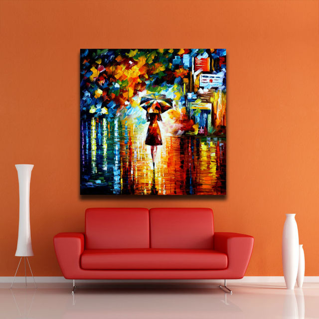 Umbrella girl in the rain modern abstract painting palette knife ...