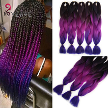 Purple Braiding Hair ombre Two Tone High Temperature Fiber expression braiding hair 100g/pcs synthetic braiding hair Extensions