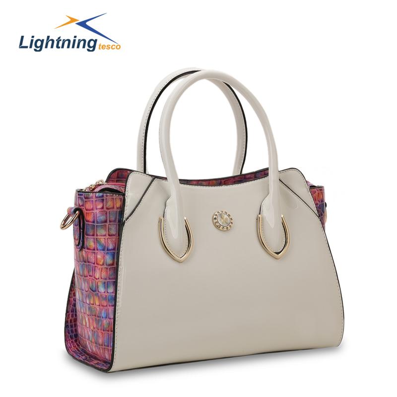 Fashion Patchwork Leather Handbags 2015 Stylish Women's Handbag Women Shoulder Bags Crocodile Cross Body Bag For Lady sac a main