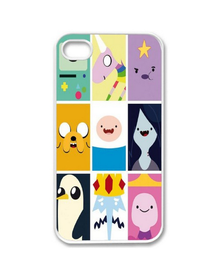 FOR Apple phone 4 4G 4S Adventure Time Collage Beemo Toon Design WHITE Sides Case Skin Cover Faceplate Protector Accessory(China (Mainland))