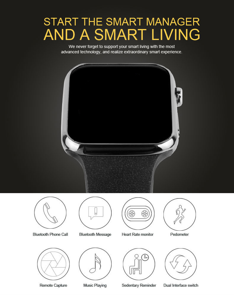 A9 Smartwatch Bluetooth Smart watch Wristwatch for Apple iPhone IOS Android Phone Wearable Devices Sport Watch PK GT08 DZ09 F69