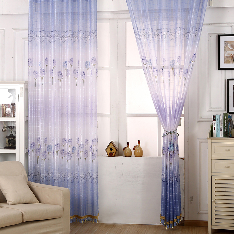 Voile Curtains Chic Room Tulip Flower Sheer Curtains Home Decoration Purple Pink Blue Green 95cm*250M(China (Mainland))