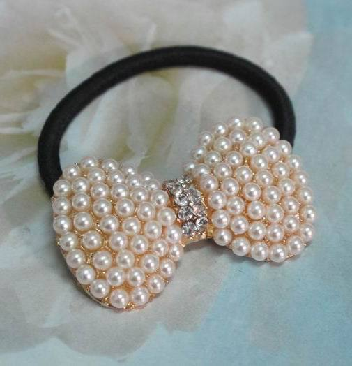 Korean Fashion Love Jewelry Gold Plated Bow Hair Accessories Imitaed Pearl Crystal hairbands YF048(China (Mainland))