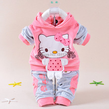 2015 spring new baby kids children Hello Kitty clothing set boys girls Velvet clothes set cartoon T Shirt Hoodies Pant suit (China (Mainland))
