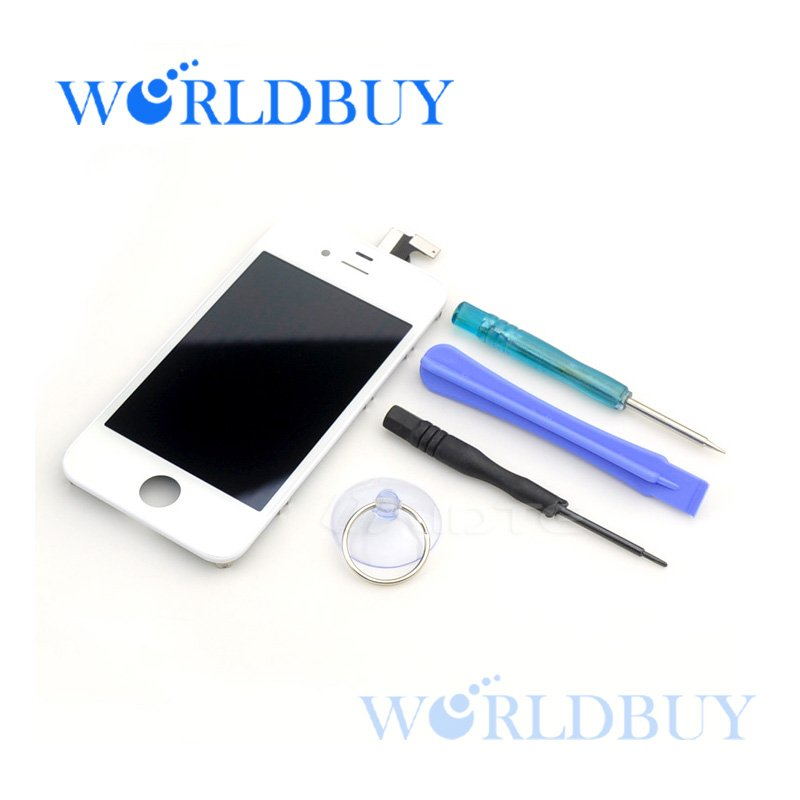 High Quality White LCD for iphone 4 4G with touch digitizer Electric White Capacity LCD Screen Free Shipping UPS HKPAM NCX082(China (Mainland))