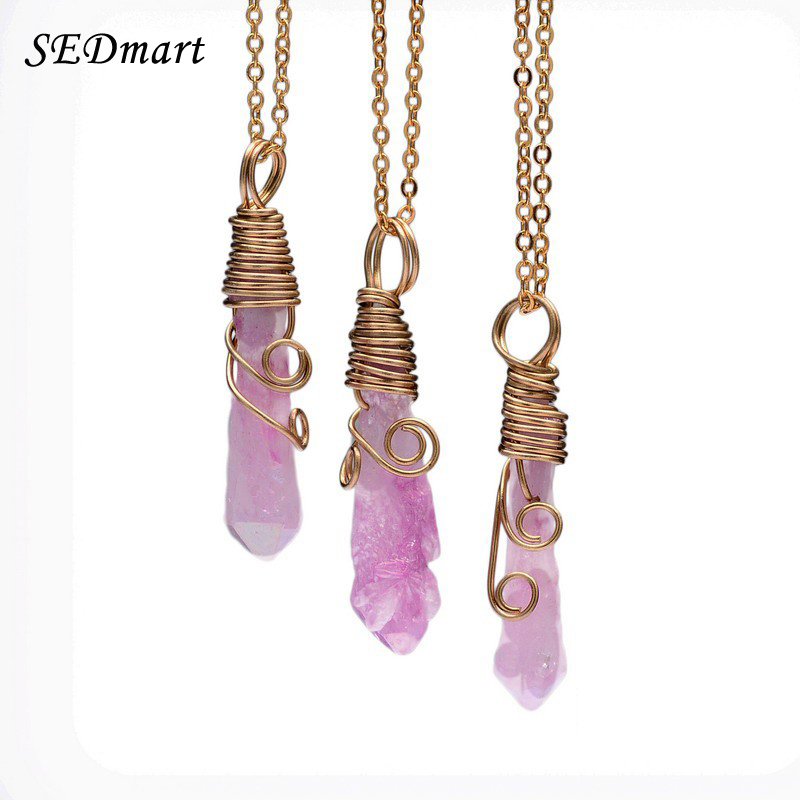 SEDmart Handmade Colorful Wire Wrapped Raw Natural Stone Women Pendant Necklace Amethyst Pink Quartz Dursy Crystal Necklaces(China (Mainland))
