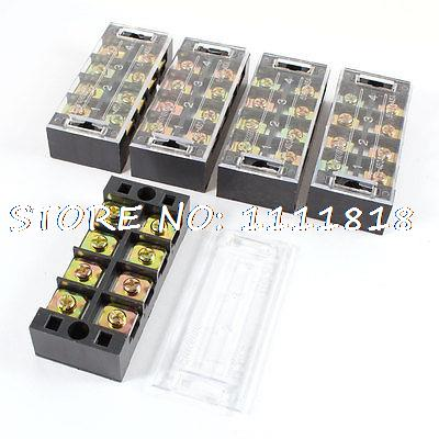 5pcs 600V 45A 4 Positions 4P 2 Rows Barrier Terminal Wiring Board Block w Cover