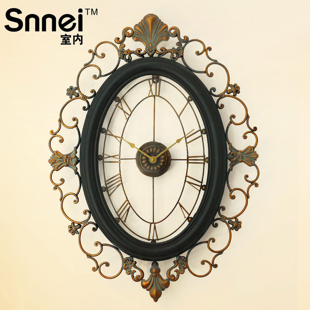 Indoor fashion classical bell ornaments quality vintage wall clock decoration wrought iron clockers cutout fashion second hand