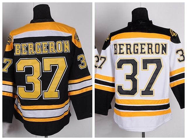 Cheap Men's Ice Hockey #37 Patrice Bergeron Jersey Team Color Home Black Road Away White Stitched Hockey Jerseys A Patch(China (Mainland))