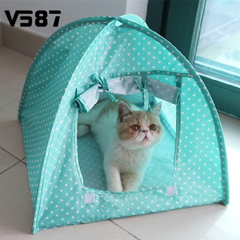 2016 Summer Outdoor Pet Camping Kennel Kitten Cat Foldable Bed Cute Dot Printed Tent Puppy Small Dog Play House(China (Mainland))