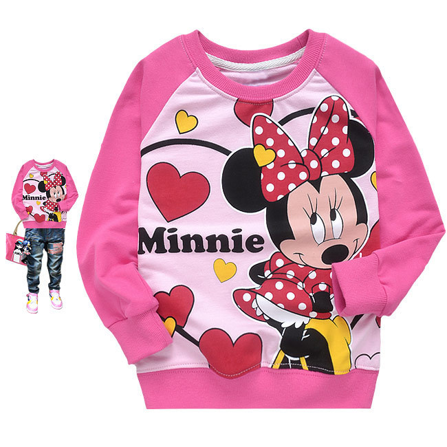 2014 Spring New Children Girls long-sleeved Minnie t-shirts cute girl t-shirt baby Cotton Terry clothing top