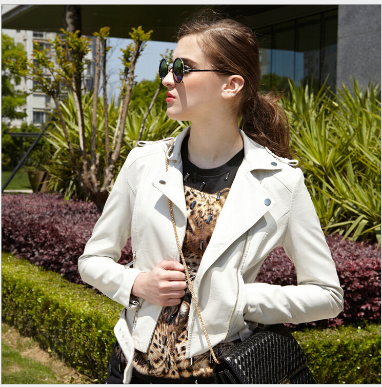 Hot sell 2015 new style fashion woman Slim-fitting genuine leather jacket Yellow coat Women Motorcycle jackets short coat S-XL(China (Mainland))