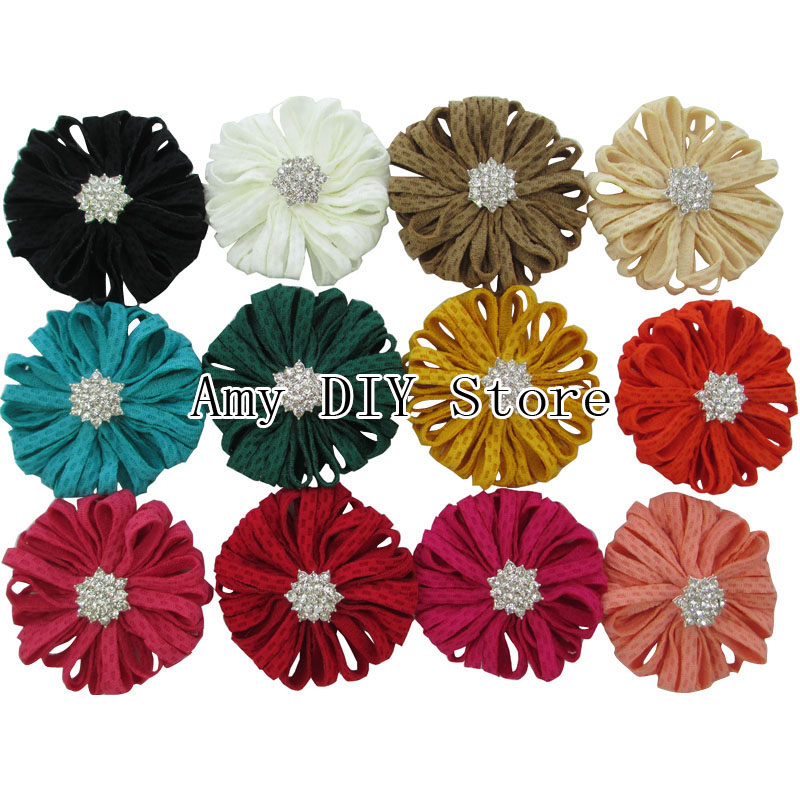 High Quailty Turnip Strip Fabric Flower With Clear Acrylic Rhinestone Buttons,Flowers For Baby Girl Hair Accessorise 100pcs/lotОдежда и ак�е��уары<br><br><br>Aliexpress