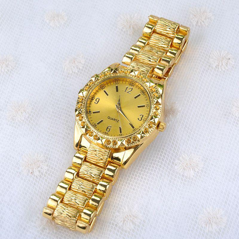 2014 Men Gold Watch Non Automatic Machinery Quartz Matte Retro Full Steel rhinestone watches Y20*MHM604#S4 - Sala's Fashion Store store