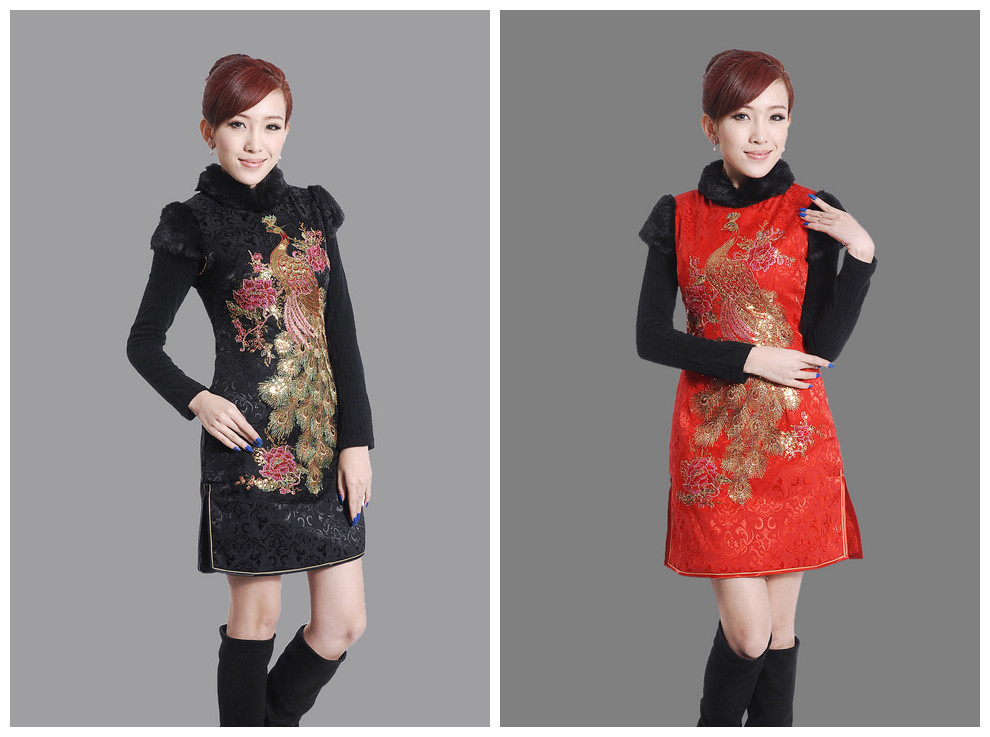 Fashion winter Qipao Chinese Womens Clothing Warm Cheong-sam Mini Qipao Dress Flower S M L XL XXL Free shipping Y0016Одежда и ак�е��уары<br><br><br>Aliexpress