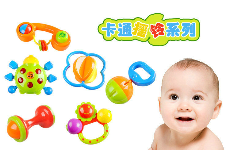 Hot 6pcs/lot New Lovely Plastic Baby Toys Hand Shake Bell Ring Rattles toys Baby Educational Toys Free shipping(China (Mainland))