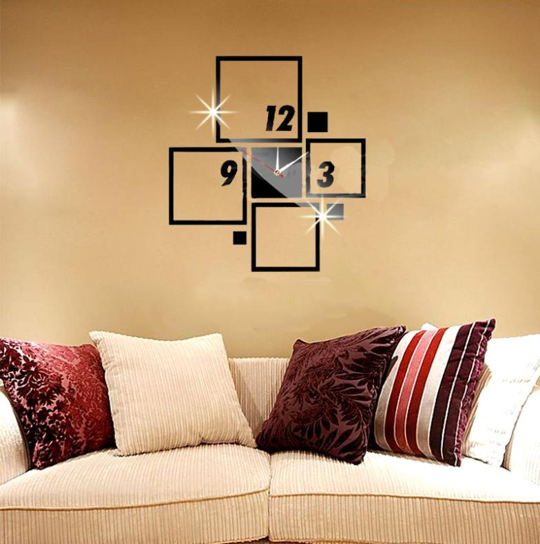 Square rectangle figure number wall clock mirror modern for 3d acrylic mirror wall sticker clock decoration decor