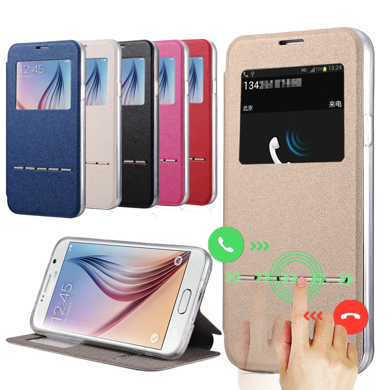 product Window View Display Flip Leather Case for Samsung Galaxy S6 Edge G9250 Smart Answer Call Flip Leather TPU Protective Cover