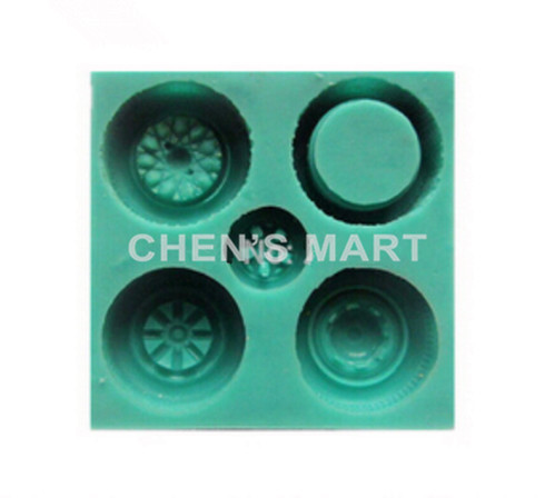 Free Shipping 1 pc Children's Day 3D Round Wheel Tire Tyre Cake Decorating Fondant Silicone Mould Topper Baking Tools Mold(China (Mainland))