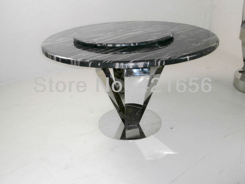 Marble countertops stainless steel circular table sets FOB price(China (Mainland))