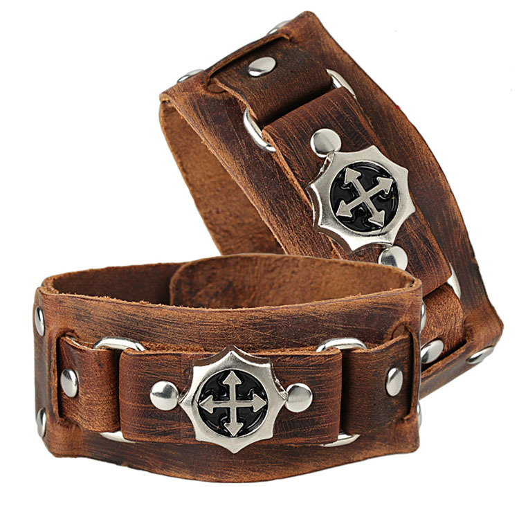 Cool Rock Men Woman Genuine Leather Cross Studs Wrap Bracelet Bracelets Free Shipping(China (Mainland))