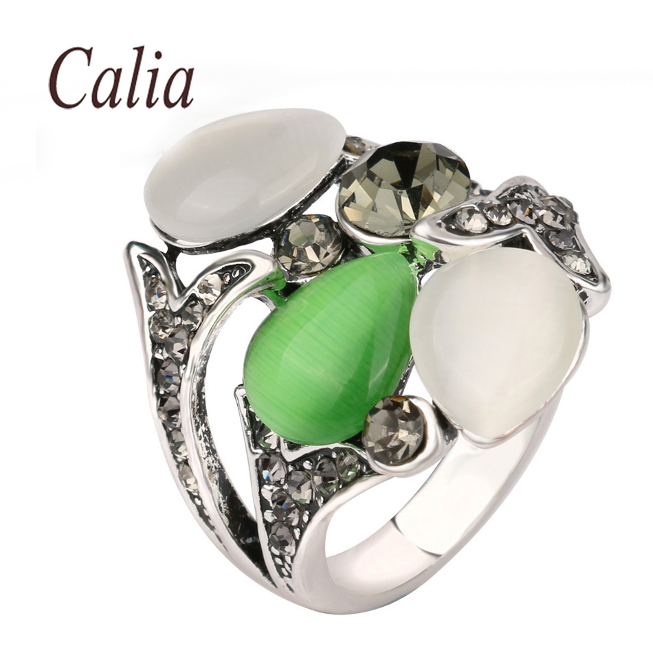 Calia Vintage White Crystal Anel Style Jewelry Opal Wedding Rings For Women Plating Silver Luxury Bohemia Style 2016 New Fashion(China (Mainland))