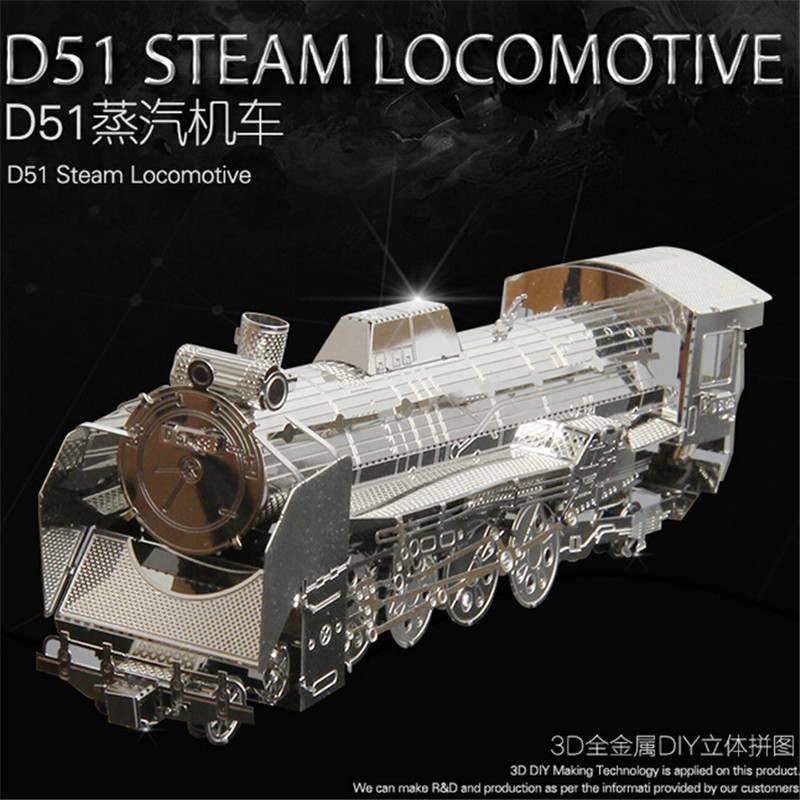 Factory direct sale Metal 3D stereo jigsaw puzzle Metal building puzzle Train model(China (Mainland))