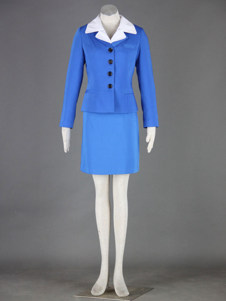 Aviation Uniform Culture Stewardess Party Dress cosplay costume ver.2 , 70s Vintage Blue uniform women costumes