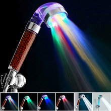 Temperature Control 7 Color LED Light Shower Head Home Bathroom Faucet Accessories Filter Bath Nozzle SPA Anion Glow Water Saver(China (Mainland))