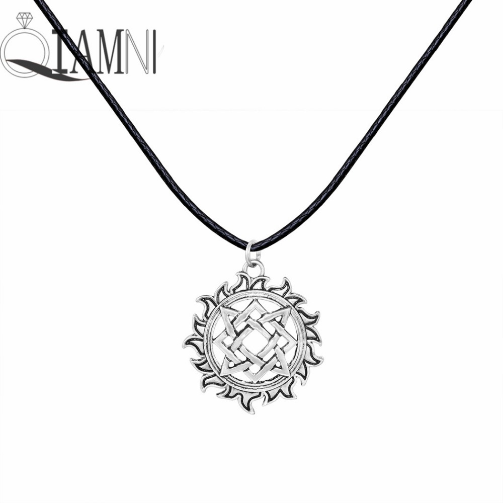 Antique Silver Unique Geometric Square Round Flower Talisman Fire Slavic Pendant Necklace Christmas Jewelry Gift for Men Women
