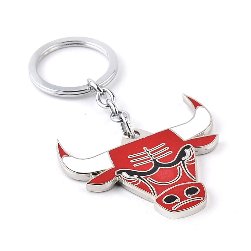 2016 New Bulls Keychain High Quality Hot Fashion Basketball team Chicago Metal Key chain red Bulls color for fans souvenirs(China (Mainland))